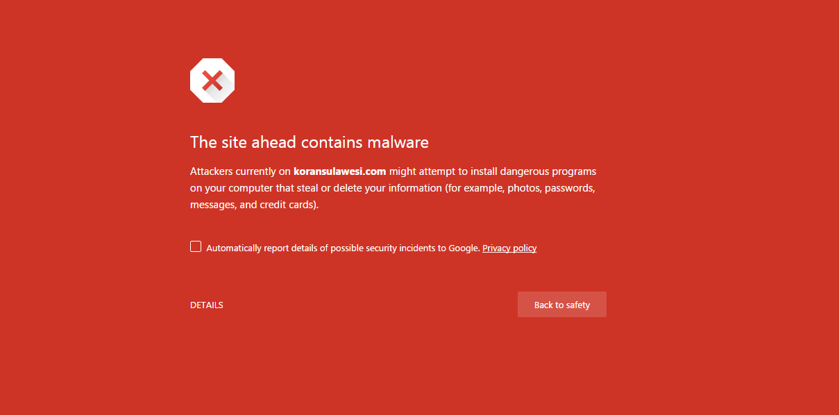 The site ahead contains malware